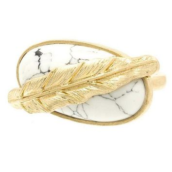 Feather and Stone Boho Ring