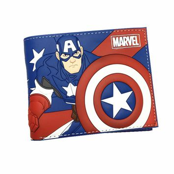 New Desigh PVC and PU Leather Anime Wallet Captain American Deadpool Spiderman Super Mario Wallets With Card Holder