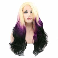 Blonde To Purple Ombre Body Wave Synthetic Lace Front Wigs