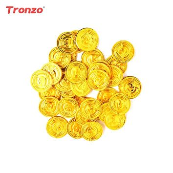 Tronzo 50PCS Pirate Treasure Game Gold Coins Halloween Decoration Kids Play Money Coin Halloween Party Props Supplies