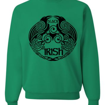 St Patricks Black Irish Celtic Raven Crewneck Sweatshirt