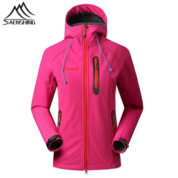 SAENSHING softshell jacket women thermal fleece Rain jacket female outdoor hiking Hunting Clothes waterproof jacket windbreaker