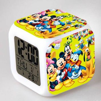 Mickey Minnie Mouse Action Figure Alarm Clock LED Colorful Touch Night Light PVC Collection Model Party Toy