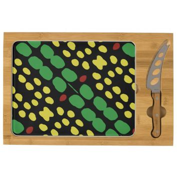 Green & Yellow Spotted Abstract Cheeseboard Rectangular Cheese Board