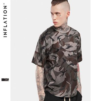ca qiyif INFLATION  Hightstreet Drop-shoulder Loose Camouflage Casual Tees