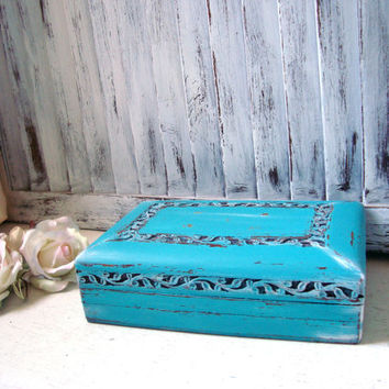 Turquoise Ornate Jewelry Box, Carved Wooden Jewelry Holder, Deep Aqua Trinket Box, Gift Ideas, Shabby Chic Jewelry Box