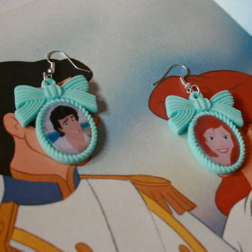 Little Mermaid couple earrings Disney - Princess Ariel and Eric
