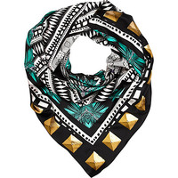 River Island Womens Black stud print satin square scarf