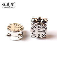 D3-16 1pc Silver-plated Bead Charm Vintage alarm clock Charms Fit Women Pandora Charm Bracelets & Bangle DIY Jewelry