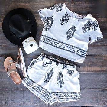 Final Sale - Reverse Clothing - Boho Print Set -  Ivory/Black