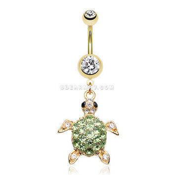 Golden Sea Turtle Belly Button Ring (Clear)