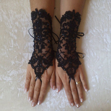 Tulip goth gothic lace black Wedding gloves bridal gloves fingerless gloves Halloween costume french lace beaded embrodeired free ship