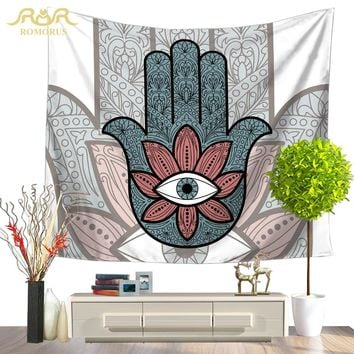ROMORUS Hamsa Hand Tapestry Indian Hanging Wall Tapestry/Bedspread Wall Decoration Hippie Tapestry Moroccan Decor Drop Shipping