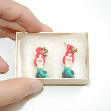 Vintage 90s Disney Little Mermaid Sitting On A Rock Small Earrings