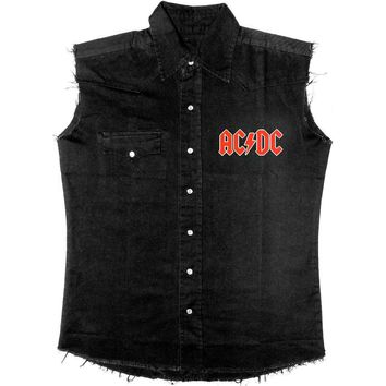 AC/DC Men's  Let There Be Rock Work Shirt Black Rockabilia