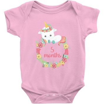Unicorn Milestone Infant Bodysuit - 5 Months