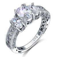 Vintage Style 2 Carat Created Diamond 925 Sterling Silver Wedding Engagement Ring