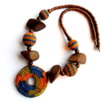 Vintage Crochet and Wood Necklace Chunky Earthy Boho Style Hippie Orange Green Blue Brown Earth Tones