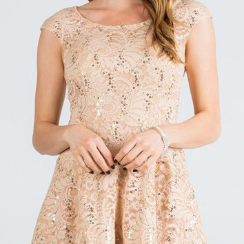 Lace Cap Sleeves Short Cocktail Dress Boat Neckline Gold