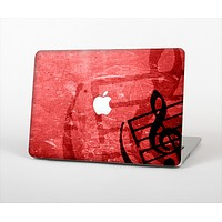 The Scratched Red Surface with Black Music Note Skin Set for the Apple MacBook Pro 15""