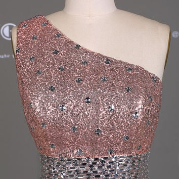 Sexy Rose Pink Sequins One Shoulder Silver Beading Party Dress/Long Prom Dress/Luxury Mermaid Evening Party Dress/Reception Dress  DH214