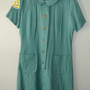 Vintage 1960s Girl Scout Uniform Dress