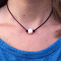 Single Pearl Leather Necklace; Choose Single or Triple Pearl, Beautiful Freshwater Pearls on a Genuine Leather Cording