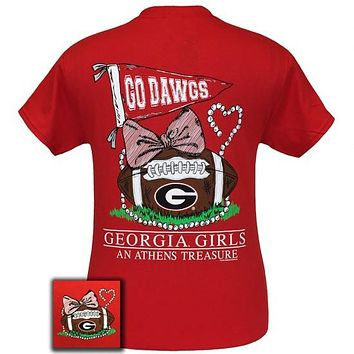 Georgia Bulldogs Athens Treasure Pearls Bow T-Shirt