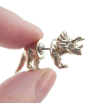 3D Triceratops Dinosaur Shaped Front and Back Stud Earrings in Shiny Gold