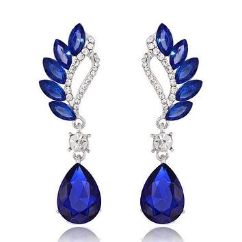 Crystal Waterdrop Police Support Drop Earrings