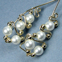 14k Gold Filled White Pearl Ear Pins Swarovski Crystal Pearls