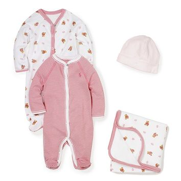 Ralph Lauren Childrenswear Baby Girls Newborn Bear Printed Footed Coverall, Blanket, and Beanie Layette Collection | Dillards