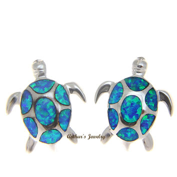 INLAY OPAL HEAVY 925 STERLING SILVER HAWAIIAN SEA TURTLE STUD POST EARRINGS 16MM