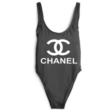 CHANEL SWIMMER SWIM TAN TOP VEST SHIRT V NECK WOMEN LETTERS BOTTOMING CLOTHES