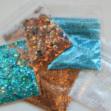 Teal and Gold Solvent Resistant Glitter Sampler Set of 5 for Glitter Nail Art and Glitter Crafts