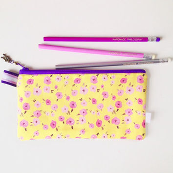 Ditsy Floral Yellow Divided Pencil Case (handmade philosophy's pattern)