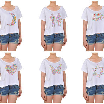 Women Multicolored Icons Printed Cotton Croptop WTS_08