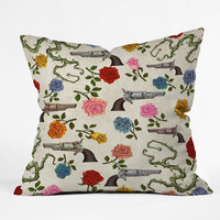 Belle13 Sweet Guns And Roses Throw Pillow