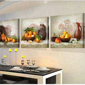 3 Panels paintings for the kitchen fruit wall decor modern canvas art wall picture for living room descorative pictures unframed