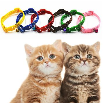 6pcs lot Mixed Dog Cat Adjustable Pet Puppy Kitten Whelping ID Collars with Bell Puppy Necklace Pet Accessories C#RT