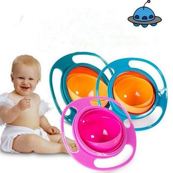 1* Creative Gyroscope Baby Sugar Cereal Bowl Dishes Food Container Spill Proof Bowls Feeding Toddler 360 Rotating Avoid Spilling