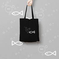 Fish Black tote bag, Funny Tote Bag, Canvas Tote Bag, Printed Tote Bag, Market Bag, Cotton Tote Bag, Large Canvas Tote, Fish Tote Bag Canvas