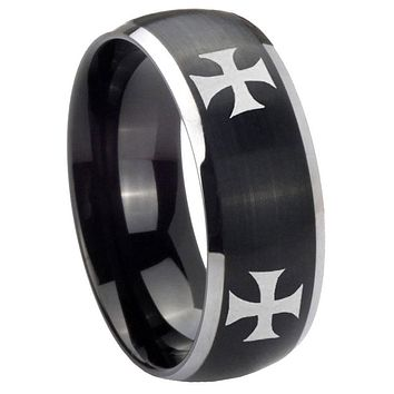 8mm 4 Maltese Cross Dome Brushed Black 2 Tone Tungsten Personalized Ring
