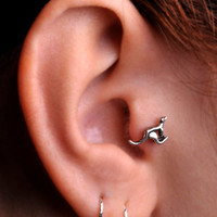 KANGAROO/ TRAGUS /  Cartilage stud / Ring / Sterling Silver. Handcrafted