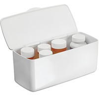 mDesign Medicine Pills Vitamins Health and Beauty Supplies Organizer with Hinged Lid - White