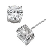 Sterling Silver Cubic Zirconia Stud Earrings (Grey)