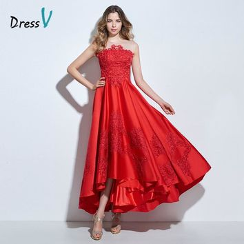 Dressv red appliques a line prom dress asymmetry short front long back elegant formal party women prom dress long evening dress