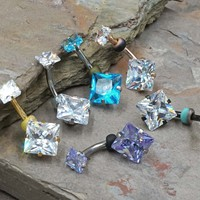 Square CZ Prong Set Internally Threaded Belly Button Ring