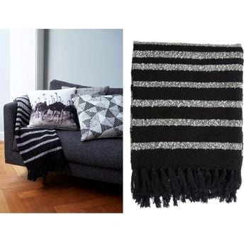 Honshu Black Fringe Throw Rug 130 x 170 cm by Bedding House
