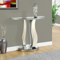 """Console Table - 36""""L / Brushed Silver / Mirror"""
